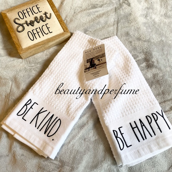 Rae dunn be kind be happy hand towels set of 2